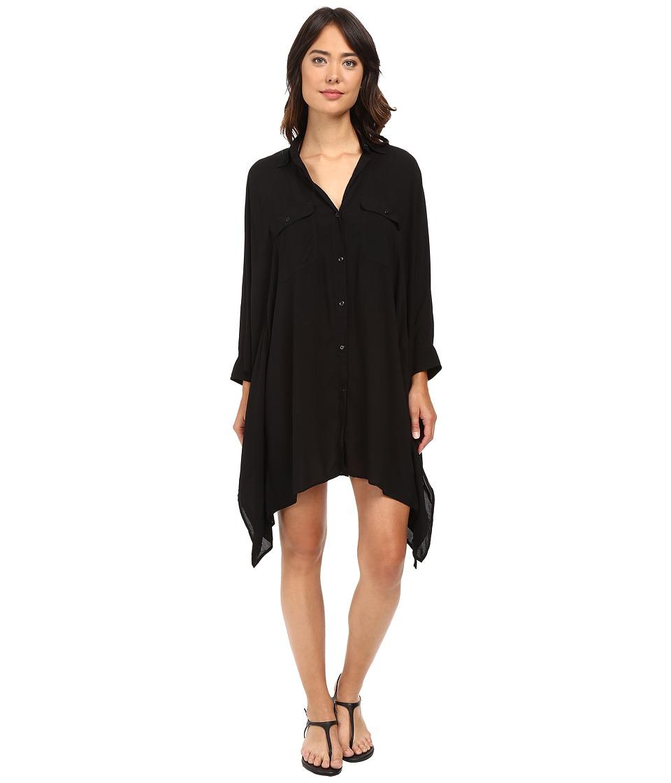 LAUREN Ralph Lauren - Blake Shirt Cover-Up (Black) Women's Swimwear