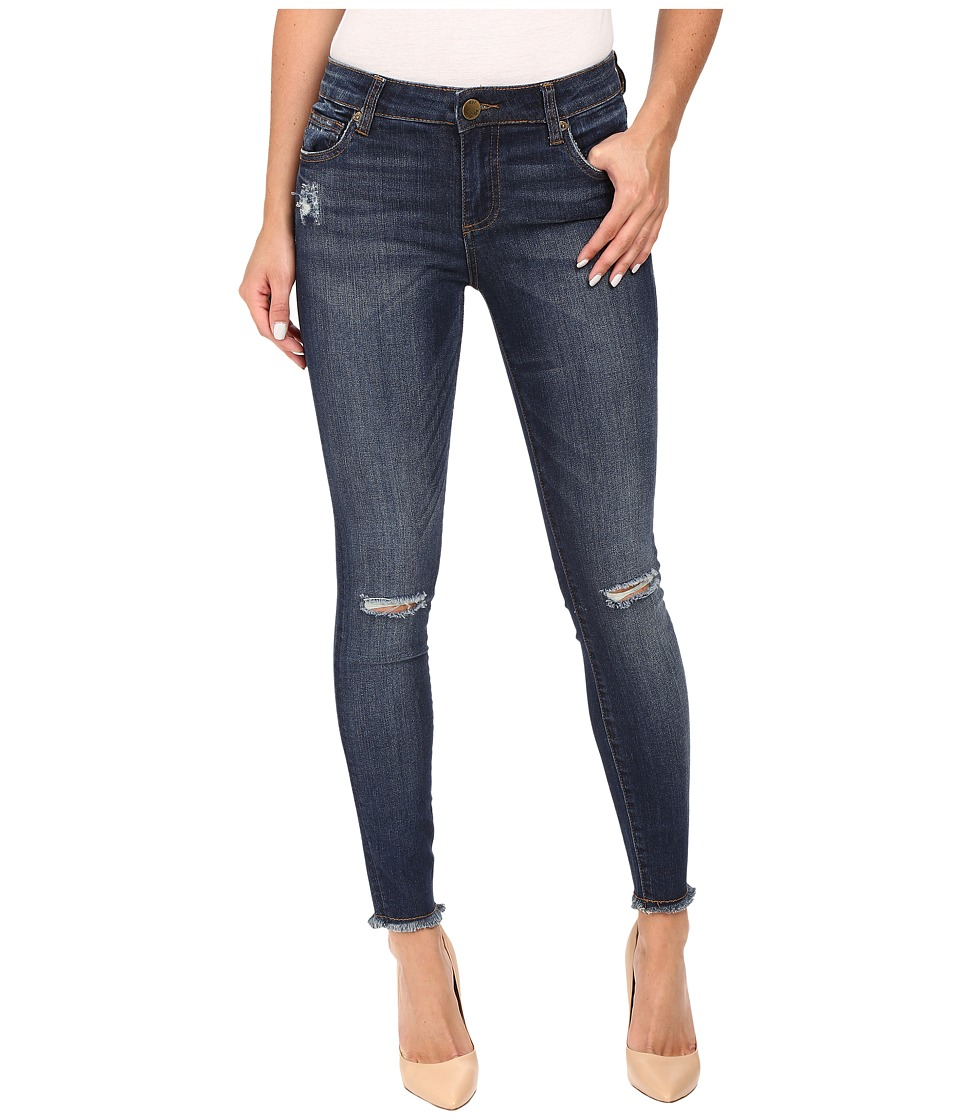 KUT from the Kloth - Connie Ankle Skinny Fray Hem in Skilled w/ Dark Stone Base Wash (Skilled/Dark Stone Base Wash) Women's Jeans