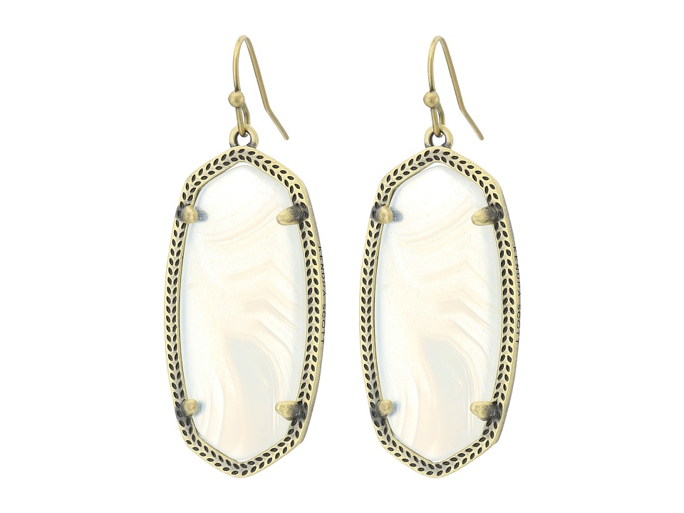Kendra Scott - Elle Earring (Antique Brass/White Banded Agate) Earring