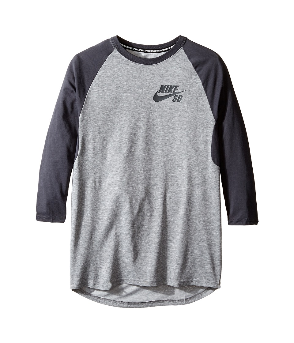 Nike Kids - SB Dry Icon 3/4 Sleeve Top (Little Kids/Big Kids) (Carbon Heather/Anthracite/Anthracite) Boy's Clothing