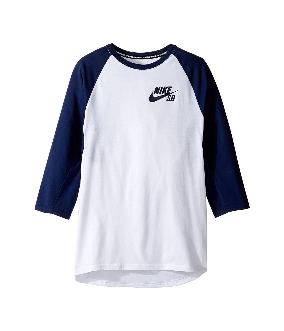 Nike Kids - SB Dry Icon 3/4 Sleeve Top (Little Kids/Big Kids) (White/Binary Blue/Binary Blue) Boy's Clothing
