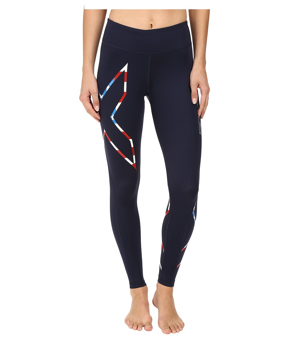 2XU - Mid-Rise Compression Tights (Navy/Stars 'N Stripes) Women's Workout