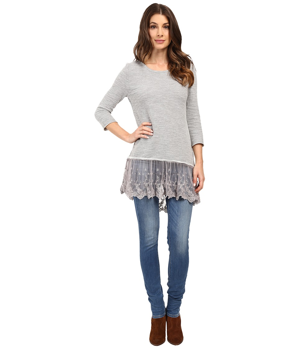Dylan by True Grit - Luxe Sparkle Slub 3/4 Sleeve Top w/ Victorian Lace Hem (Heather) Women's Clothing