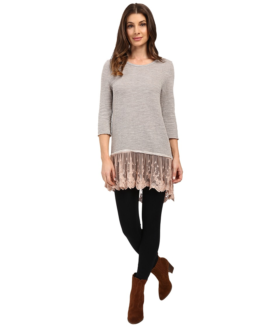Dylan by True Grit - Luxe Sparkle Slub 3/4 Sleeve Top w/ Victorian Lace Hem (Vintage Pink) Women's Clothing