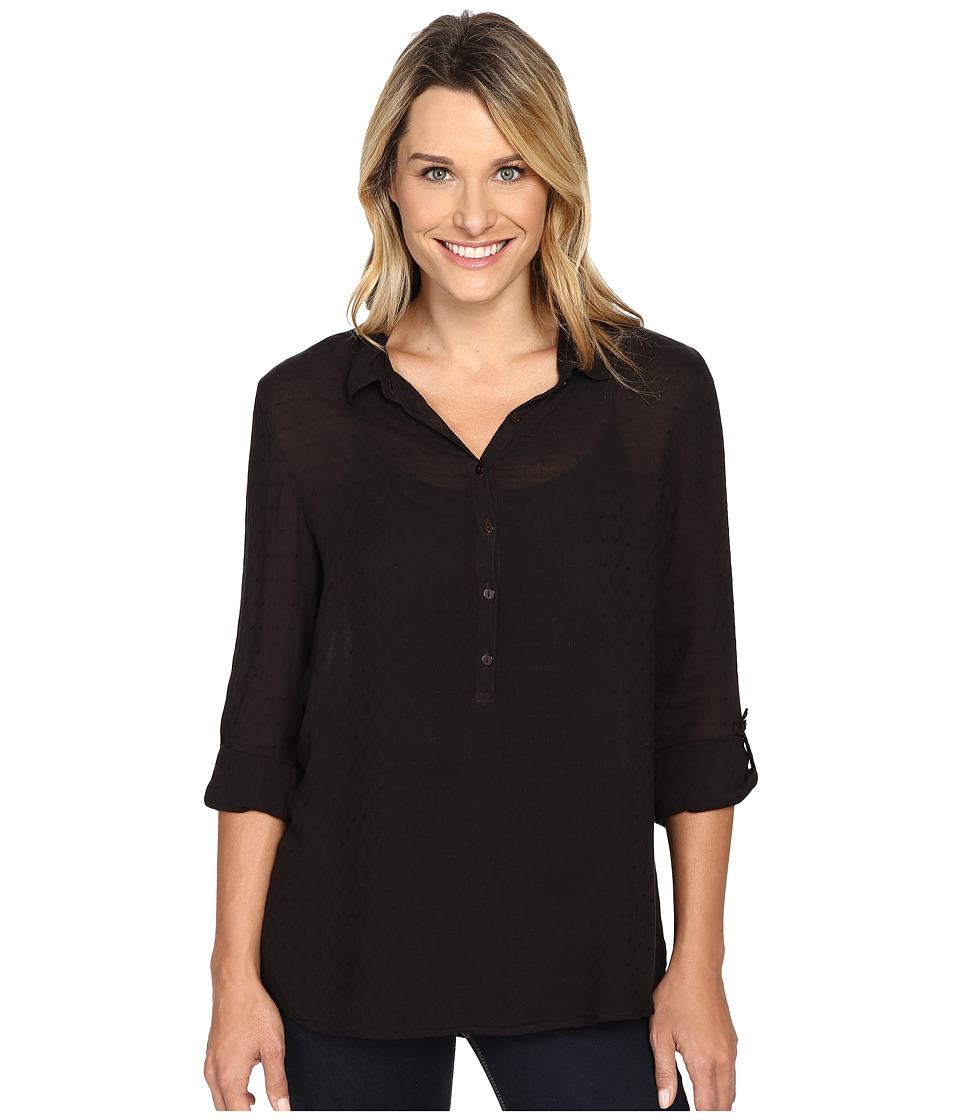 Dylan by True Grit - Dobby Tunic with Roll Sleeves (Soft Black) Women's Clothing