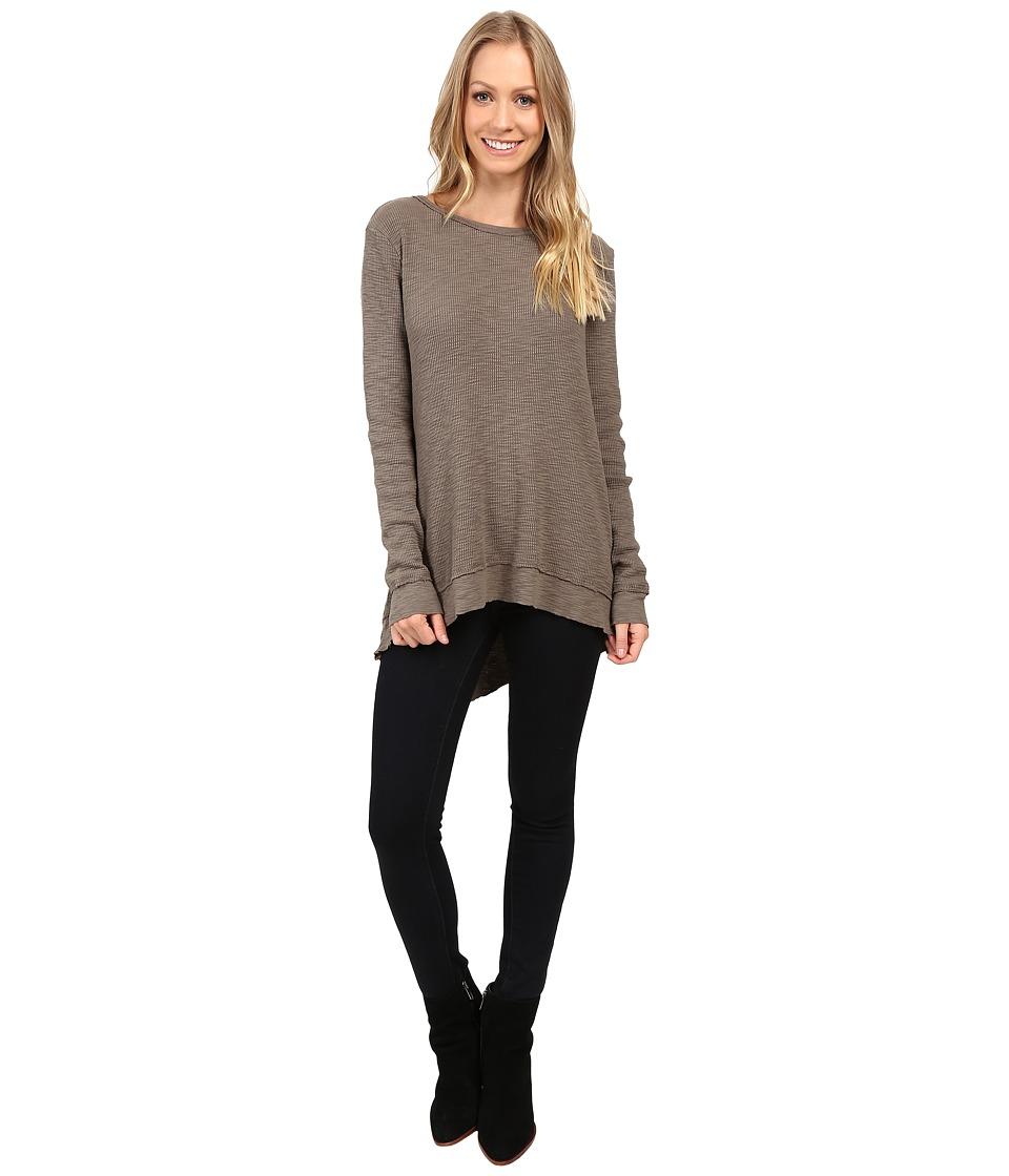 Dylan by True Grit - Softest Slub Waffle Long Sleeve Asymmetrical Top (Elm) Women's Long Sleeve Pullover