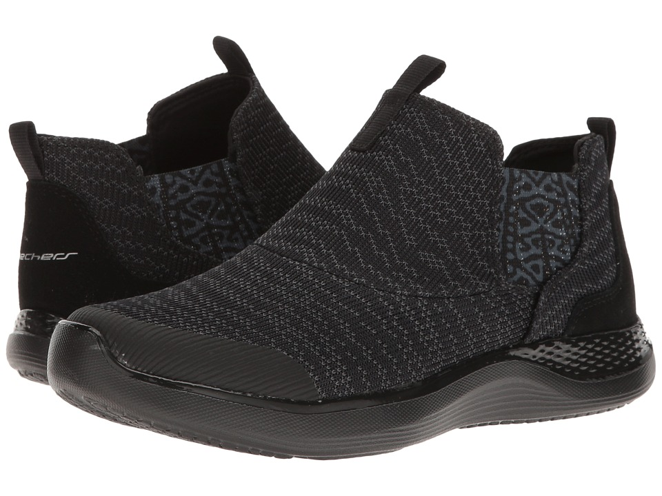 SKECHERS - Knit Chelsea Slip-On Bootie (Black) Women's Pull-on Boots