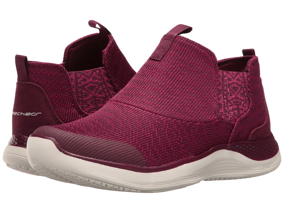 SKECHERS - Knit Chelsea Slip-On Bootie (Burgundy) Women's Pull-on Boots