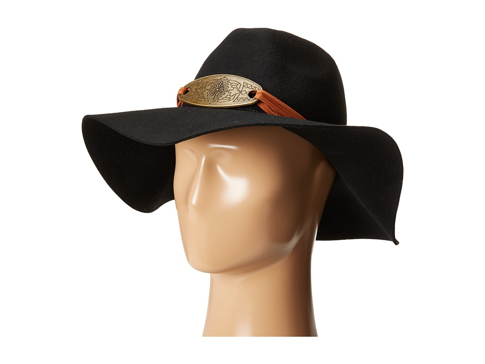 San Diego Hat Company - WFH8026 Floppy Fedora Hat with Metal Plate (Black) Fedora Hats