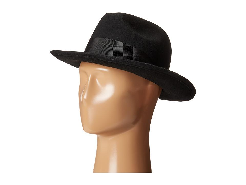 San Diego Hat Company - WFH8033 Felt Fedora Hat (Black) Fedora Hats