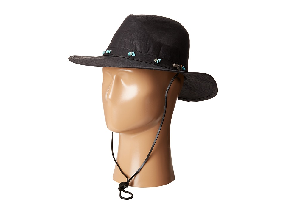 San Diego Hat Company - CTH8032 Distressed Fedora Hat with Turquoise Beads (Black) Fedora Hats