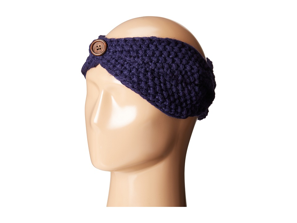 San Diego Hat Company - KNH3440 Cable Knit Headband with Wood Button (Navy) Headband