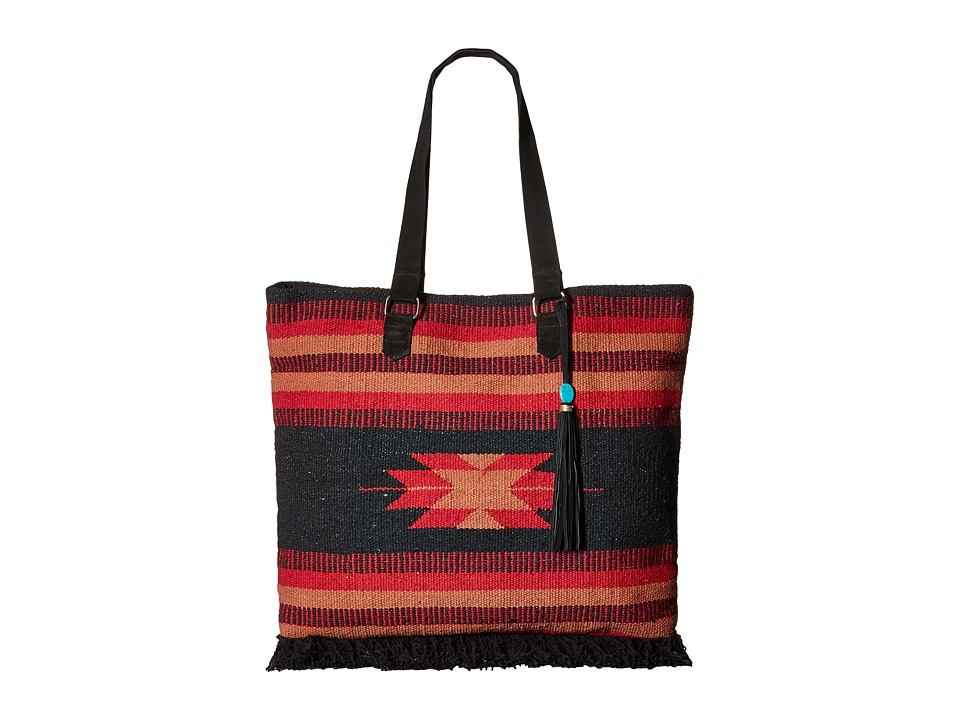 San Diego Hat Company - BSB1695 Woven Albuquerque Pattern Tote (Black/Red) Tote Handbags