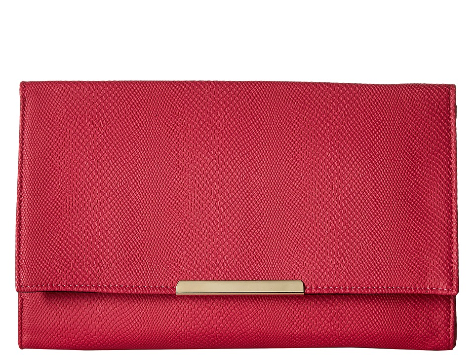 Jessica McClintock - Nora Straw Clutch (Raspberry) Clutch Handbags