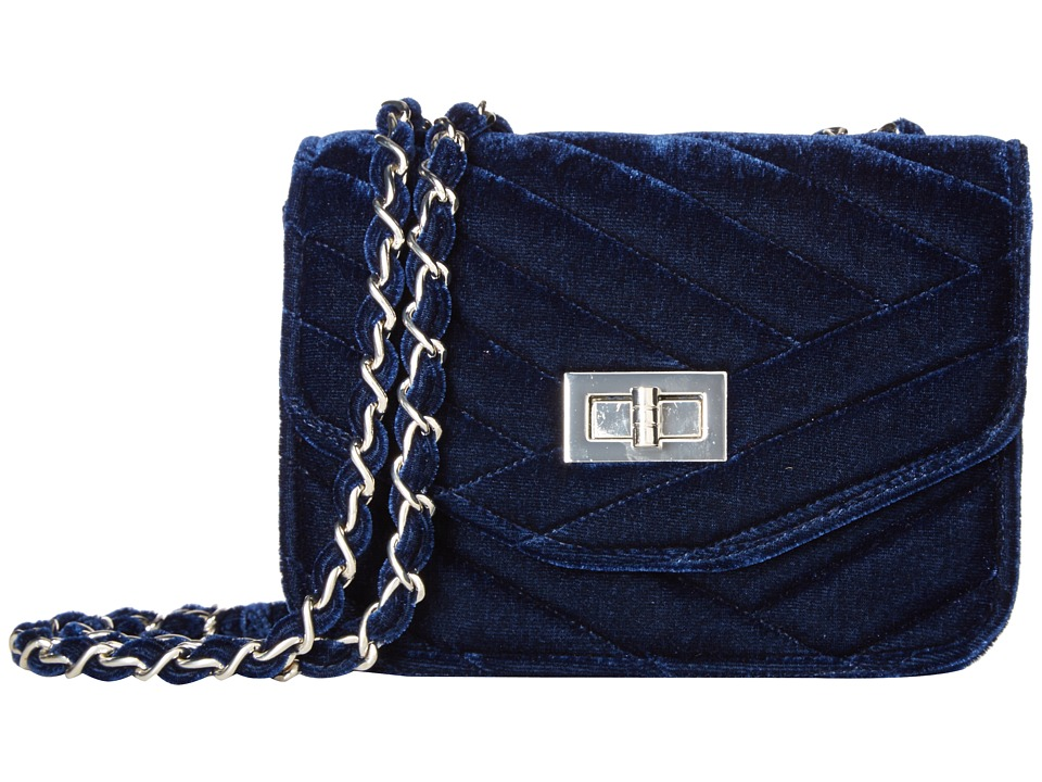 Jessica McClintock - Elaine Velvet Shoulder Bag (Navy) Shoulder Handbags