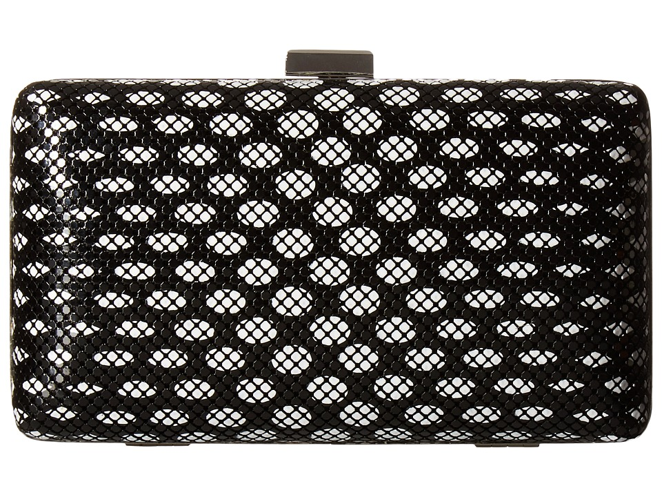 Jessica McClintock - Noelle Dot Mesh Clutch (Black/White) Clutch Handbags