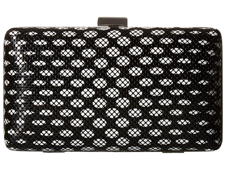 Jessica McClintock - Noelle Dot Mesh Clutch (Black/White) Clutch Handbags