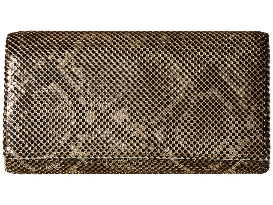Jessica McClintock - Cassie Snake Print Clutch (Light Gold) Clutch Handbags