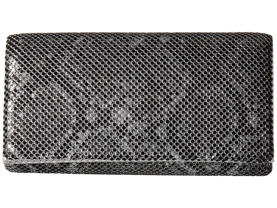 Jessica McClintock - Cassie Snake Print Clutch (Silver) Clutch Handbags