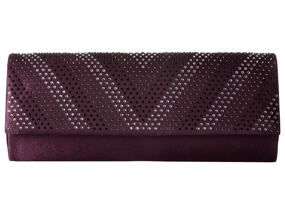 Jessica McClintock Ava Satin Clutch (Plum) Clutch Handbags