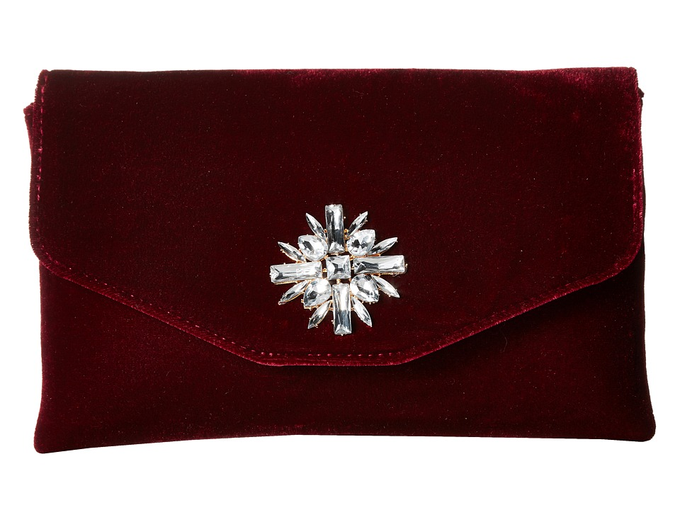 Jessica McClintock - Bonnie Velvet Envelope Clutch (Wine) Clutch Handbags