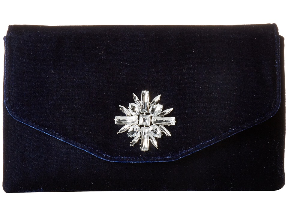 Jessica McClintock - Bonnie Velvet Envelope Clutch (Navy) Clutch Handbags