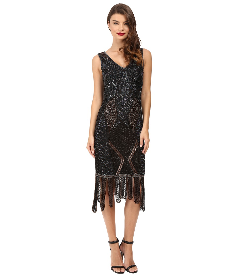 Unique Vintage Beaded Carwash Hem Flapper Dress (Black/Bronze) Women