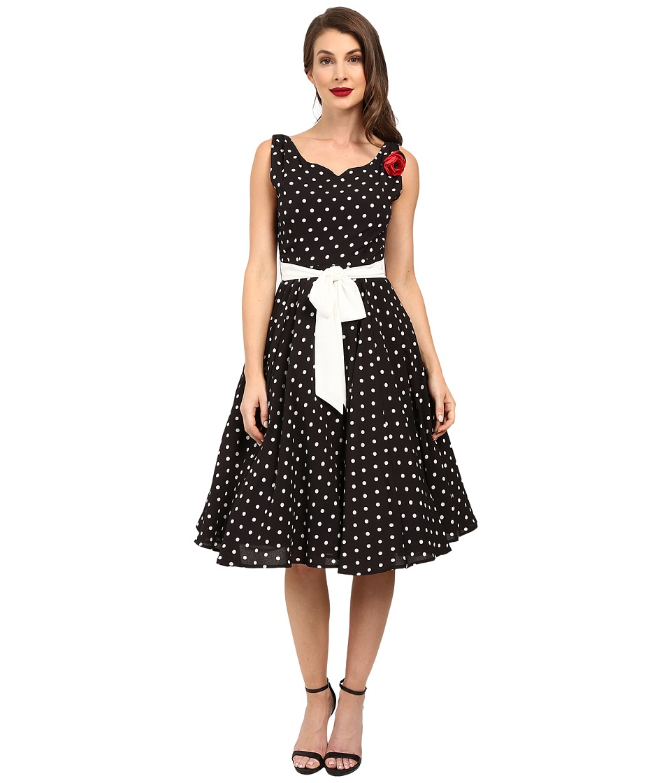 Unique Vintage - Dotted Swing Dress with Sash (Black/White) Women's Dress