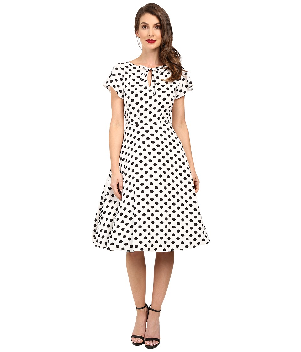 Unique Vintage - Dotted Ruffle Sleeve Swing Dress (White/Black) Women's Dress