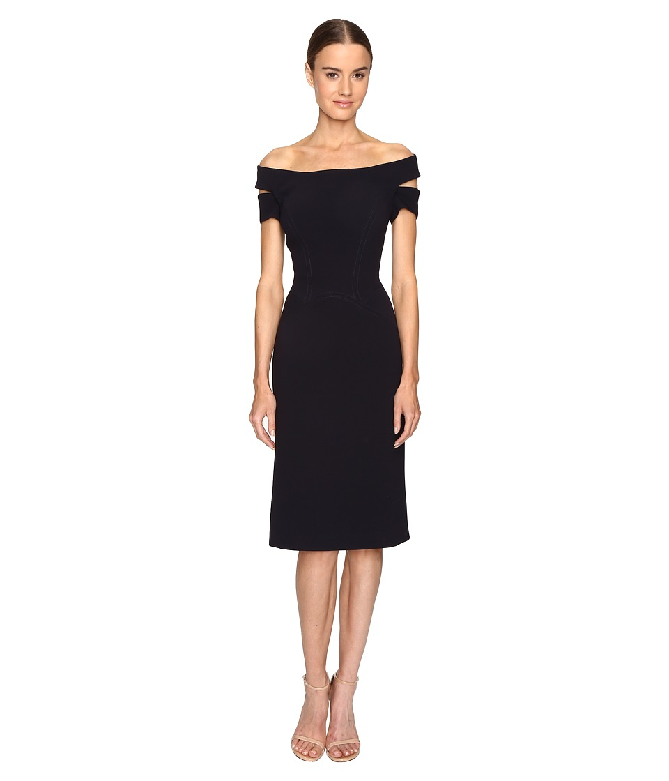 Zac Posen - Bonded Crepe Corseted Cold Shoulder Dress (Midnight) Women's Dress