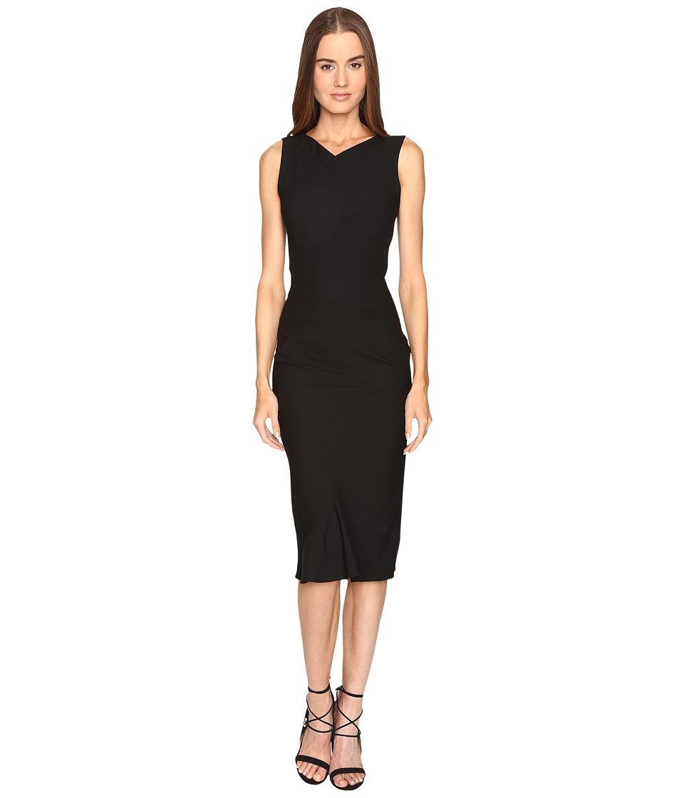 Zac Posen Stretch Cady Sleeveless Tea Length Dress (Black) Women
