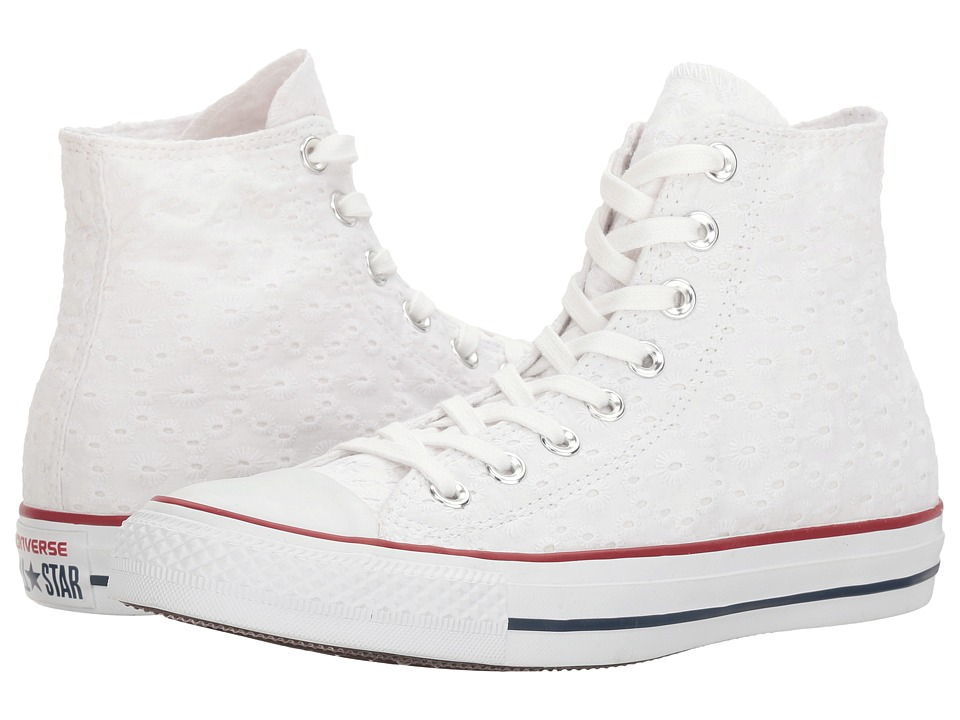 Converse - Chuck Taylor(r) All Star(r) Eyelet Stripe Hi (White/Garnet/Clematis Blue) Women's Classic Shoes
