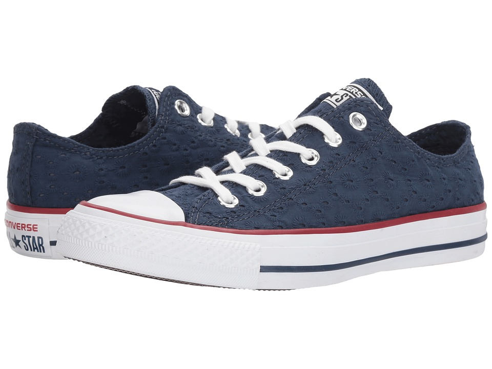 Converse - Chuck Taylor(r) All Star(r) Eyelet Stripe Ox (Navy/Garnet/White) Women's Classic Shoes