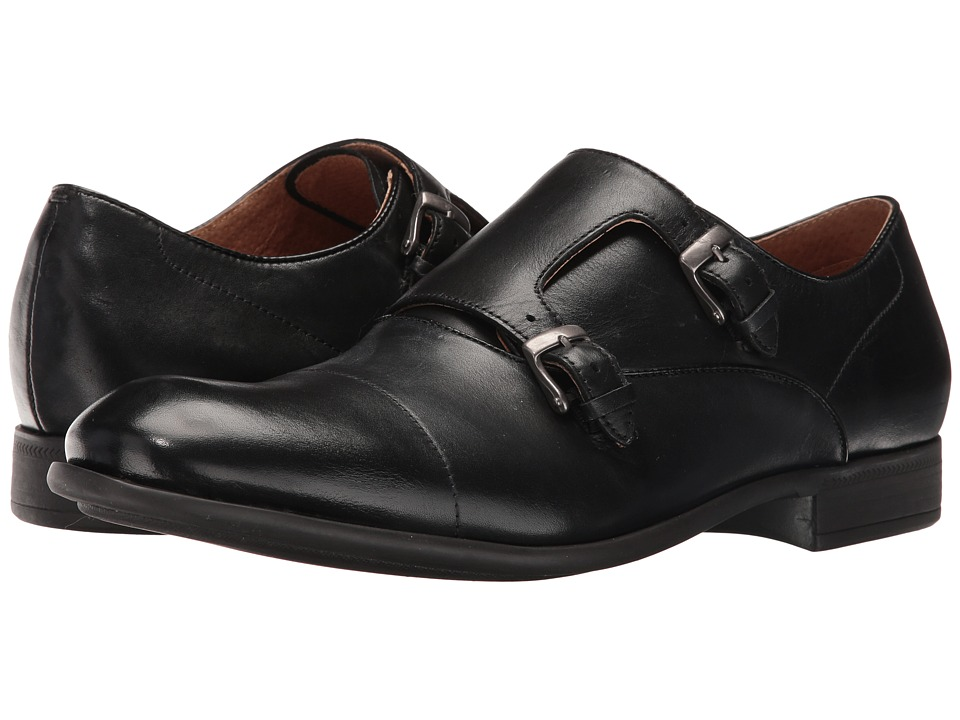 John Varvatos - Star Double Monk (Black) Men's Shoes