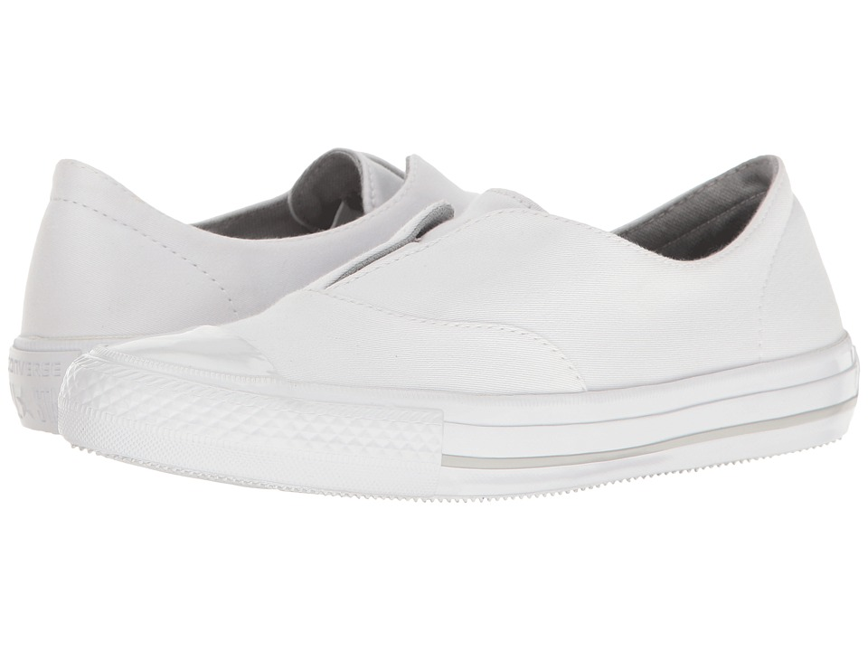 Converse - Chuck Taylor(r) All Star(r) Gemma Craft Twill Slip-On (White/White/Mouse) Women's Shoes