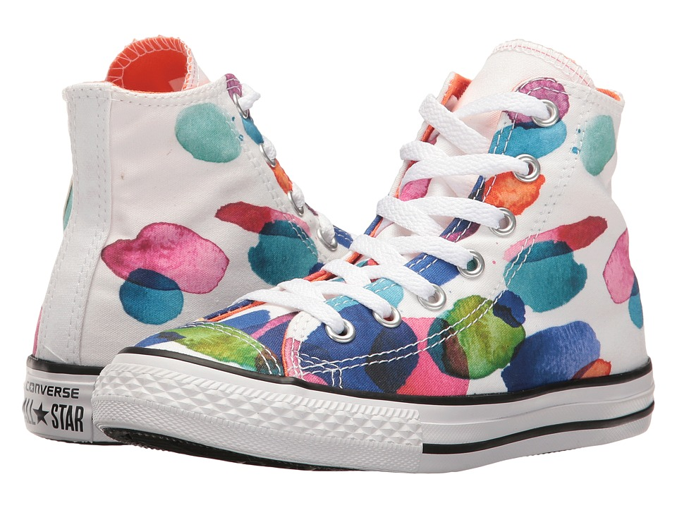 Converse Kids - Chuck Taylor All Star Hi (Little Kid/Big Kid) (White/Wild Mango/White) Girl's Shoes