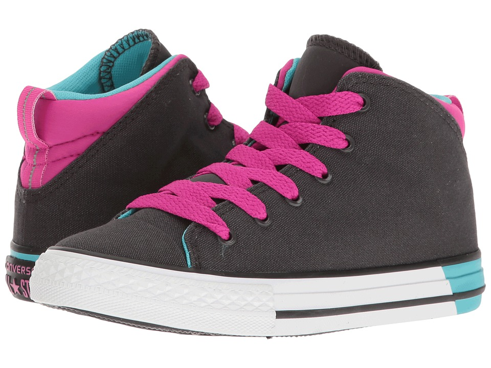 Converse Kids - Chuck Taylor All Star Official Mid (Little Kid/Big Kid) (Almost Black/Magenta Glow/White) Girl's Shoes
