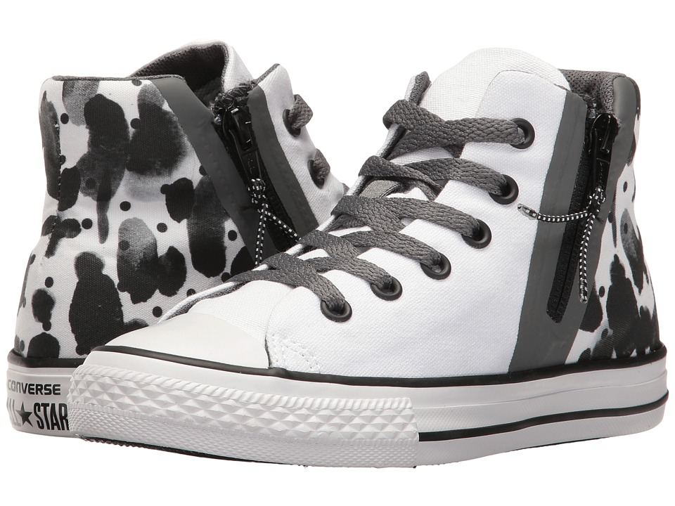 Converse Kids - Chuck Taylor All Star Sport Zip Hi (Little Kid/Big Kid) (White/Black/White) Girl's Shoes