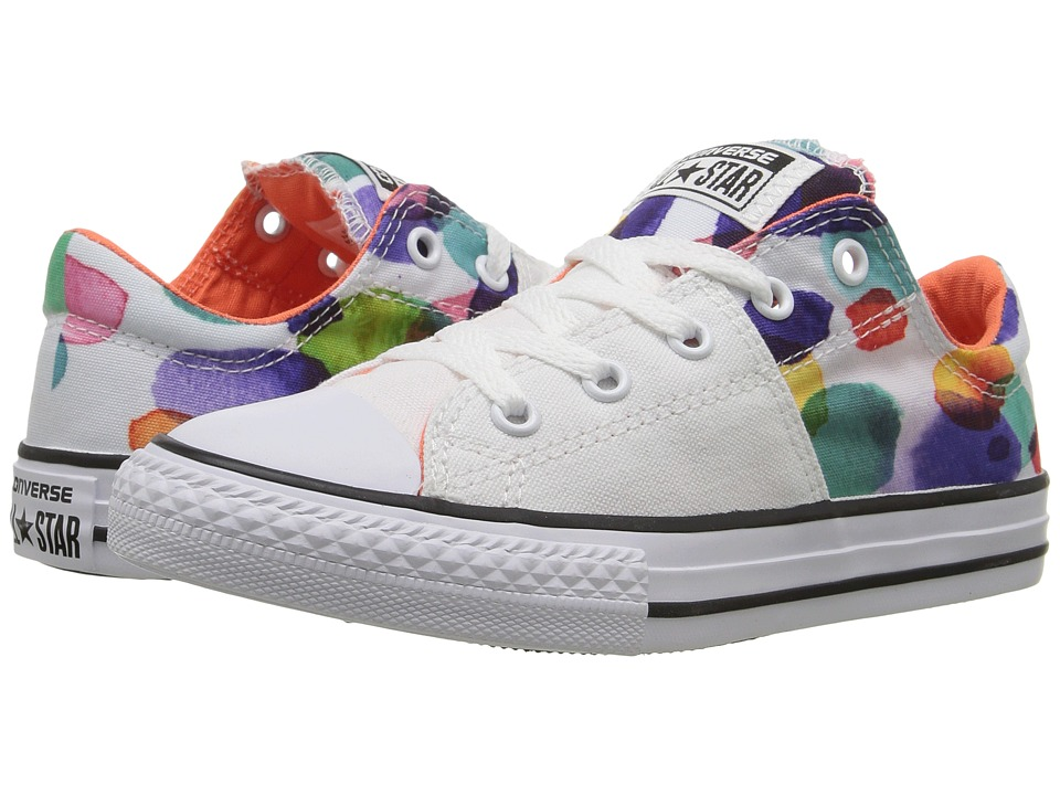 Converse Kids - Chuck Taylor All Star Madison Ox (Little Kid/Big Kid) (White/Wild Mango/Black) Girl's Shoes