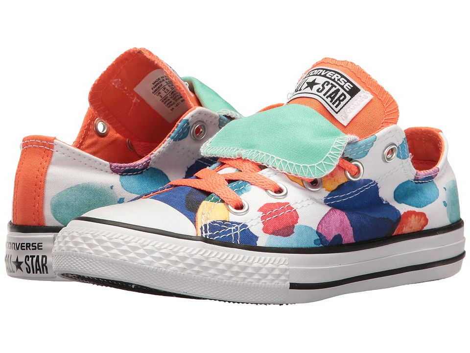 Converse Kids - Chuck Taylor All Star Double Tongue Ox (Little Kid/Big Kid) (White/Wild Mango/Green Glow) Girl's Shoes