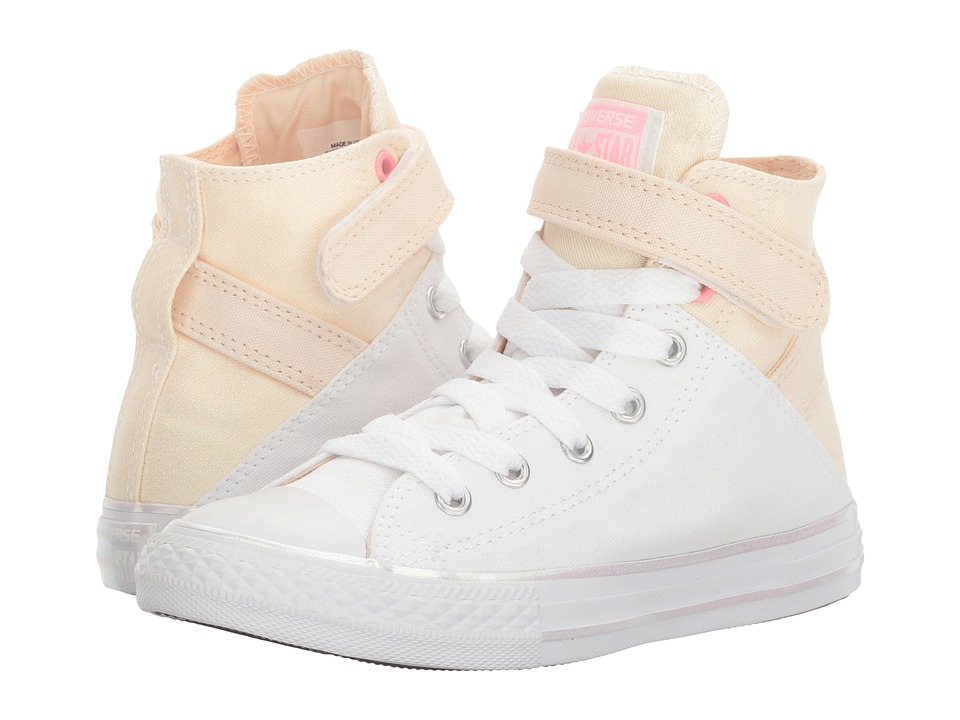 Converse Kids Chuck Taylor All Star Brea Hi (Little Kid/Big Kid) (White/Barely Orange/White) Girl