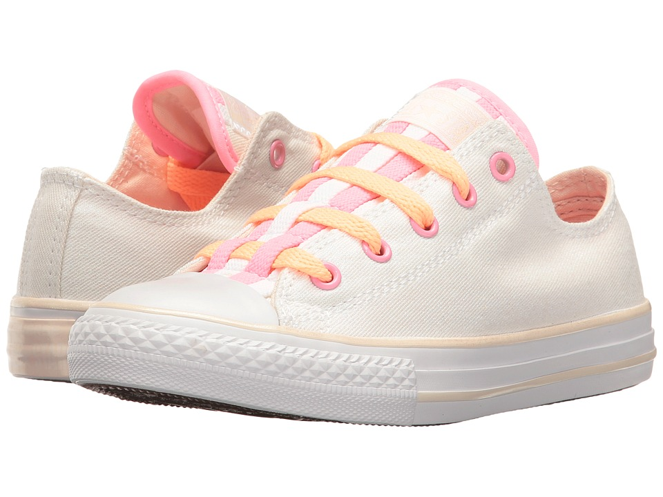 Converse Kids Chuck Taylor All Star Loopholes Ox (Little Kid/Big Kid) (White/Sunset Glow/White) Girl