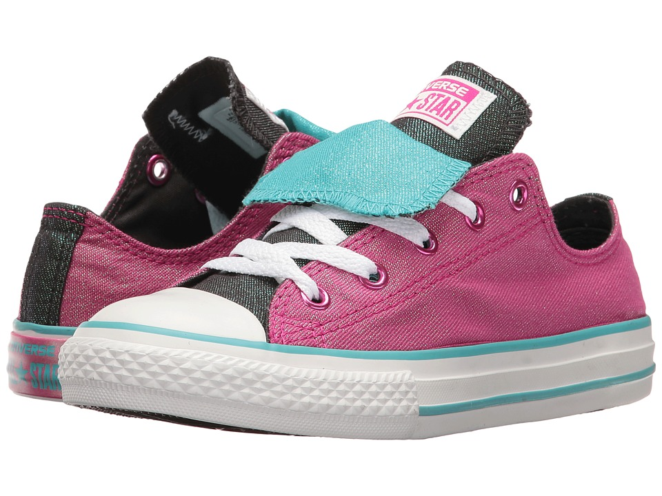 Converse Kids - Chuck Taylor All Star Double Tongue Ox (Little Kid/Big Kid) (Magenta Glow/Fresh Cyan/White) Girl's Shoes