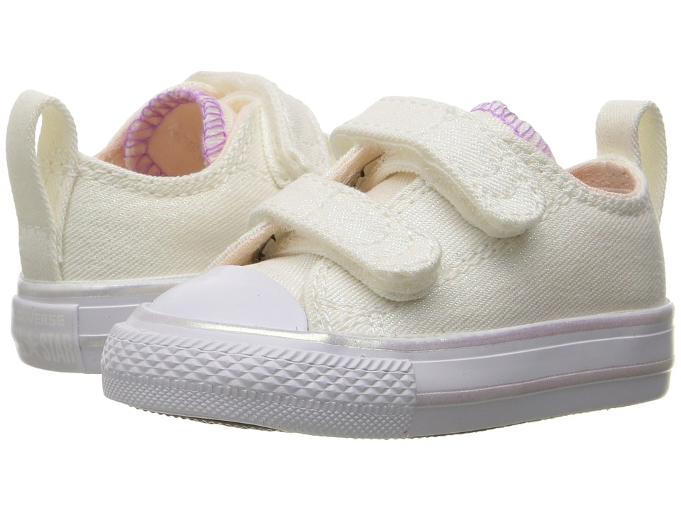 Converse Kids - Chuck Taylor All Star Ox 2V (Infant/Toddler) (White/Barely Orange/White) Girl's Shoes