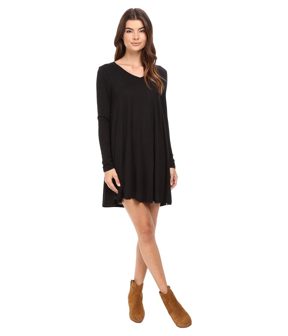 Volcom Lived In Long Sleeve Dress (Black) Women