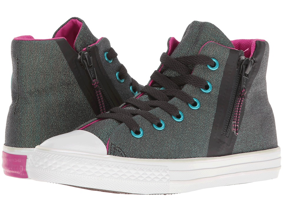Converse Kids - Chuck Taylor All Star Sport Zip Hi (Little Kid/Big Kid) (Almost Black/Magenta Glow/White) Girl's Shoes