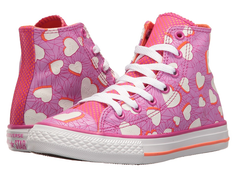 Converse Kids - Chuck Taylor All Star Hi (Little Kid/Big Kid) (Magenta Glow/Wild Mango/White) Girl's Shoes