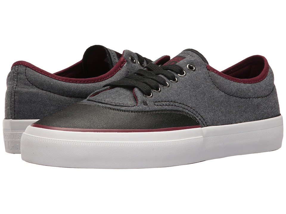 Converse Skate Crimson Ox Shield Canvas (Black/Black/Deep Bordeaux) Men