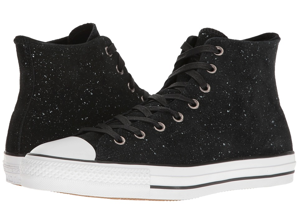 Converse - Chuck Taylor All Star Pro Peppered Suede Hi (Black/White/Black) Men's Skate Shoes