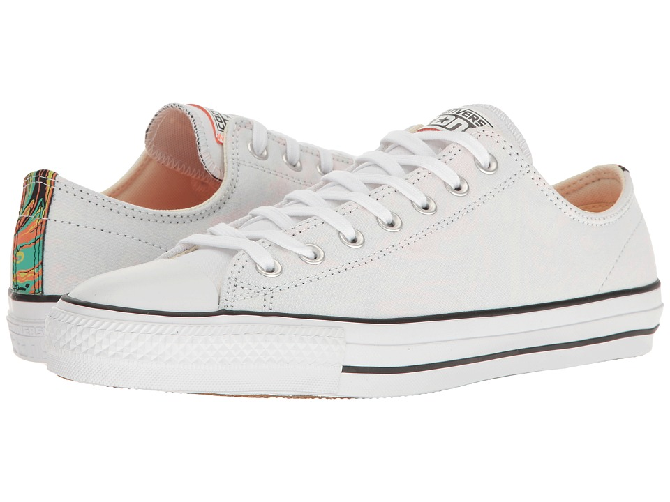 Converse - Chuck Taylor(r) All Star(r) Pro Suede Backed Canvas Ox (White/Hyper Orange/Black) Men's Skate Shoes